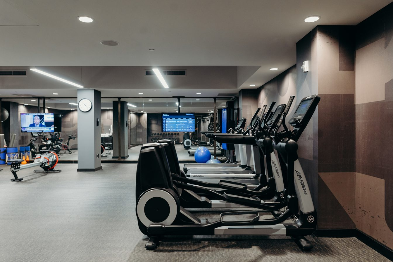 Exercise equipment at the fitness center of our hotel in downtown Detroit.